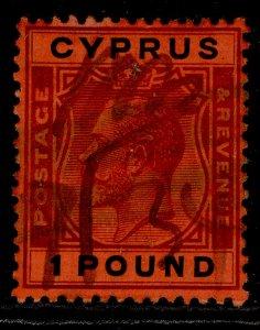 CYPRUS GV SG102, £1 purple & black-red, USED.