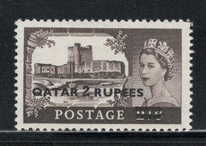 Qatar 1957 Queen Elizabeth II Surcharge 2R Scott # 13 MH