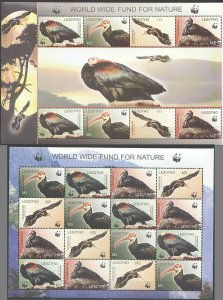 PK141 LESOTHO WWF FAUNA BIRDS 2SH MNH STAMPS