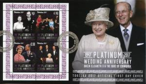Tokelau 2017 FDC Queen Elizabeth II Platinum Wedding 4v M/S Cover Royalty Stamps