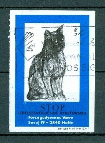 Denmark. Poster Stamp Animal Protection Cat. Cancel
