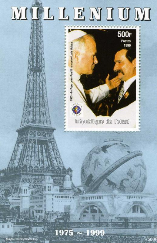 Chad 1999 Events 1975/1999 Pope John Paul II & Lech Walesa s/s Perforated mnh.vf