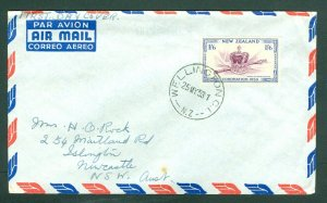 New Zealand. FDC 1953. A/M,Australia 1/6 Coronation Queen Elizabeth. Wellington