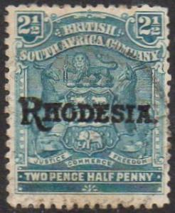 Rhodesia 1909 2½d pale dull blue used