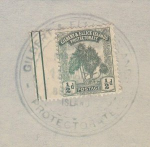 GILBERT & ELLICE IS Pandanus ½d on 1912 piece huge BUTARITARI cds...........2054