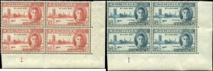 Dominica Scott #112 - #113 Plate Blocks of 4 Complete Set of 2 Mint Hinged