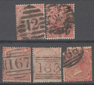 COLLECTION LOT # 2144 GREAT BRITAIN #34 (5 STAMPS) 1862 CV=$300 2nd ROW  FAULTY