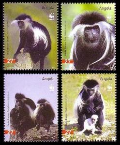 Angola WWF Black-and-white Colobus 4v SG#1717-1720 SC#1279 a-d MI#1745-1748