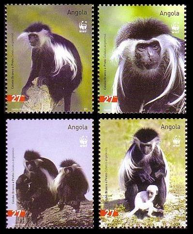 Angola WWF Black-and-white Colobus 4v SG#1717-1720 SC#1279 a-d MI#1745-1748