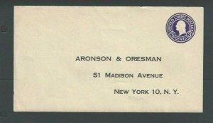 Ca 1932 U436 3c Purple On White Mint Entire Die 143 Size 13 W/Printed Address