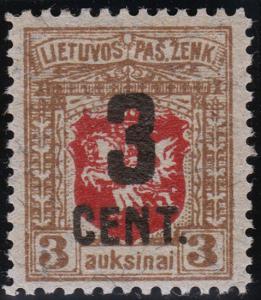 Lithuania Scott 121 (1922) Mint NH or VLH VF, CV $125-175.00