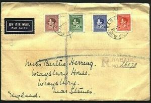 NEW GUINEA 1937 Coronation set on registered cover Rabaul to UK............94116