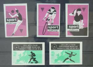 Match Box Labels ! sport athletics cycling volleyball table tennis GN11