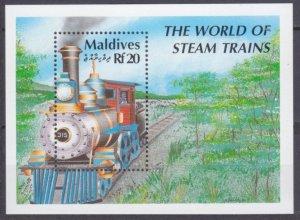 1990 Maldive Islands 1486/B179 Locomotives 8,50 €