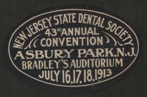 New Jersey State Dental Society 43rd Annual Conv. Asbury Park July 1913 label x6