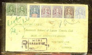SARAWAK (P1106B) 1925 REG MIRI TO ENGLAND TENNIS SCHOOL!!!!