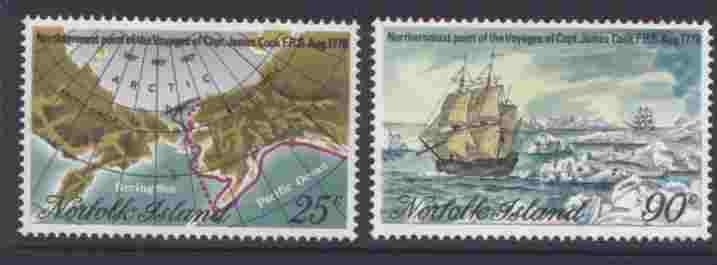 Norfolk Island 235-6 MNH Map of Bering Sea, Captain Cook, Ship