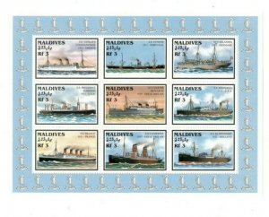 Maldives MNH S/S Ships 9 Stamps