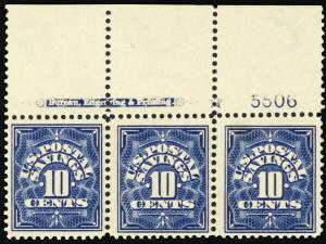 PS4, Mint VF XLH 10¢ Postal Savings PL# & Imprint Strip - Stuart Katz