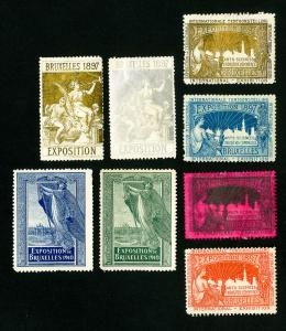 Belgium Stamps # 8 Expo labels over 120 years old