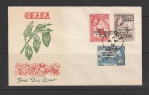 Ghana 1958 FDC Defs 2d, 2 1/2d & 4d, Illus, Unaddressed, Pmk Adabraka