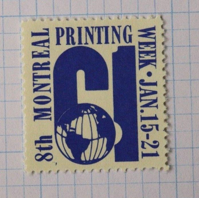 Montreal Canada Printing week 1961 trade association printers Poster Stamp Mint