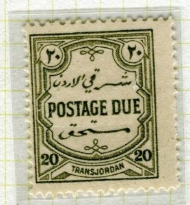 TRANSJORDAN; 1929 April early Postage Due issue fine Mint hinged 20m. value