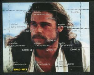 Turkmenistan Commemorative Souvenir Stamp Sheet - Actor Brad Pitt