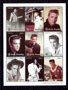 Tanzania 1439C MNH 1996 Elvis Presley sheet of 9