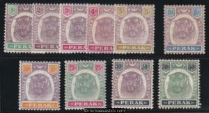 1892 Malaya Perak 1c to 50c Tiger set of 10, SG 66-75, MH