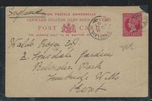 LEEWARD ISLANDS (P2712B) 1897 QV 1D PSC FROM ANTIGUA TO LONDON WITH MSG, UR CORN