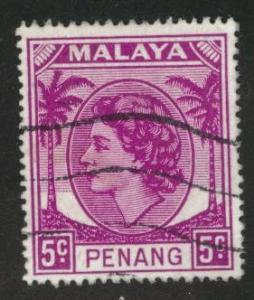 MALAYA Penang Scott 32 used 1954-55 QE2