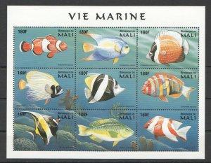 PK087 MALI FISH & MARINE LIFE VIE MARINE 1KB MNH STAMPS