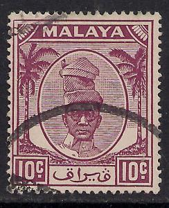 Perak Malaya 1950 - 56  10ct Purple Yussuf SG 136.( H597 )