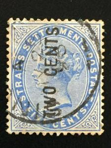 Malaya Straits Settlements 1884 QV 2c on 5c EN & S wide SG#77 M2075