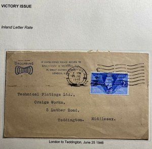 1946 London England Airmail Advertising Cover To Teddington Victory Stamps Issue