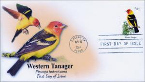 SC 4884, 2014 Songbirds, Western Tanager, FDC,  Item 14-045