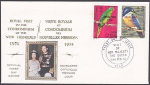 NEW HEBRIDES 1974 Royal Visit commem FDC....................................3437