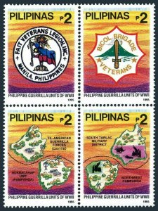 Philippines 2388 ad block,MNH. Philippine Guerrilla Units in WW II.1995.