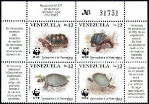 Venezuela 1471 Block of 4, MNH. Protection of Nature, WWF. Turtles, 1992