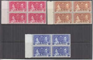 LEEWARD ISLANDS, 1937 Coronation set of 3, marginal blocks of 4, mnh.