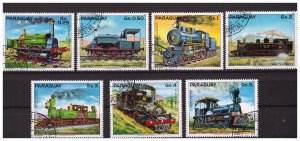 PARAGUAY 1982 Steam Locomotives  7 values set CTO