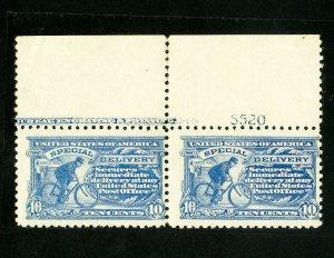 US Stamps # E9 F+ Wide top plate imprint pair OG NH Scott Value $1,500.00