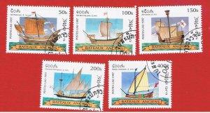 Laos #1348-1352  VF used  Ships  short set   Free S/H