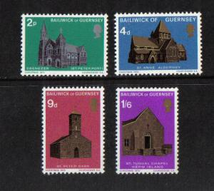 Guernsey  1970  MNH  Christmas   Churches complete