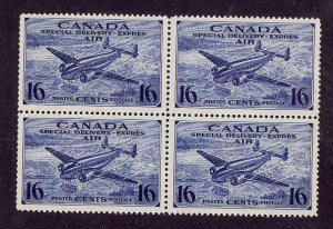 Canada-Sc#CE1-unused NH block of 4-Airmail Special Delivery-Planes-1942-3-