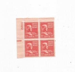 US SCOTT# 822 PLATE BLOCK OF 4, MNH, OG