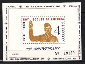 United States, 1980 Private issue. 70th Anniversary of Scouting, White Card. ^