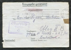 p383 - WW2 SERBIA 1941 CENSORED Cover to POW Camp Offlag VI/B GERMANY