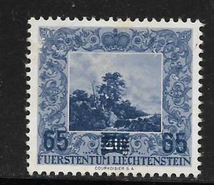 LIECHTENSTEIN, 283, NO GUM, SURCHD, 1954 ISSUE